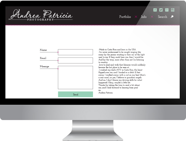 Andrea Patricia Website | Designed by: Sarah McDonald
