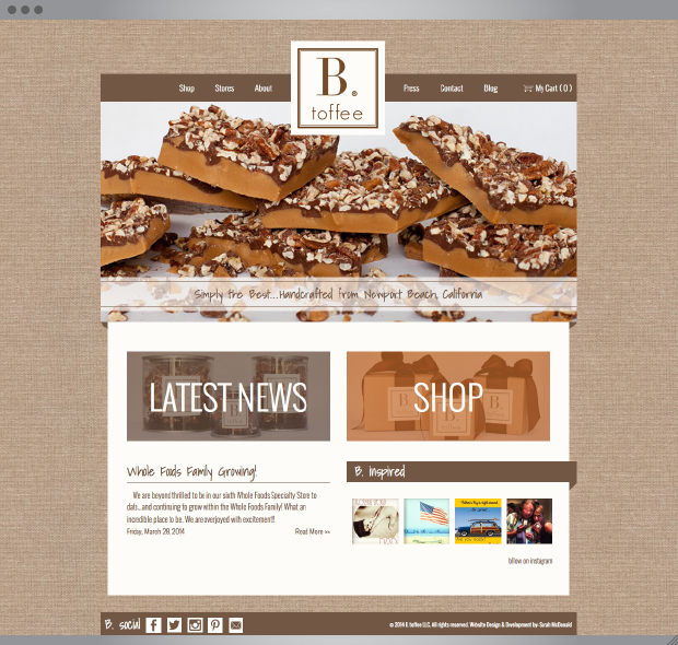 B. toffee Website | Design & Development by: Sarah McDonald